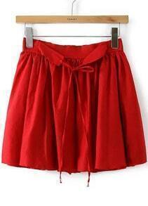 Red Tie-Waist Pleated Skirt