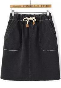 Black Elastic Waist Pockets Denim Skirt