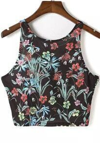 Black Strap Floral Crop Cami Top