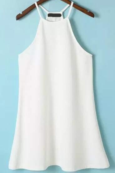 White Spaghetti Strap Ruffle Loose Dress