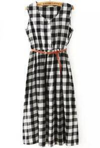 Black White Sleeveless Plaid Pleated Dress