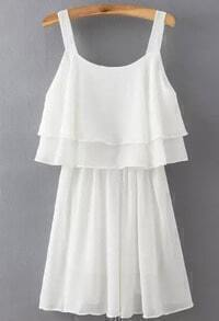 White Spaghetti Strap Ruffle Pleated Dress