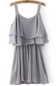 Grey Spaghetti Strap Ruffle Pleated Dress