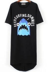 Black Short Sleeve Shark Print High Low Dress