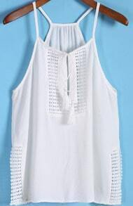 White Spaghetti Strap Bandage Split Cami Top