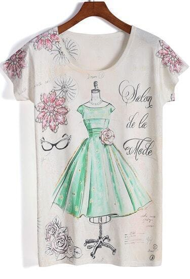 Apricot Short Sleeve Dress Print T-Shirt