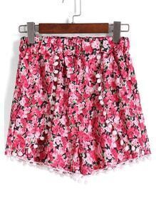 Red Elastic Waist Floral Shorts
