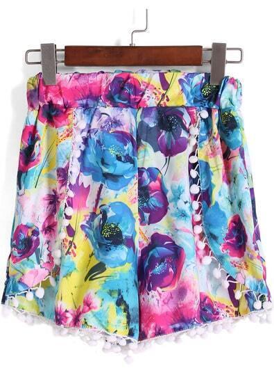 Multicolor Elastic Waist Floral Shorts pictures
