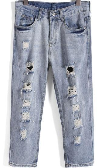 Blue Vintage Ripped Bead Denim Pant