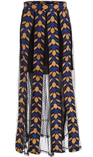 Синяя прозрачная юбка в горошек