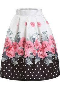 White Black Floral Polka Dot Flare Skirt