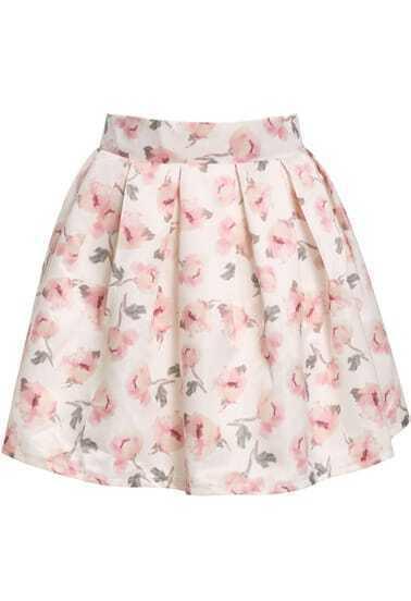 تنورة مضيئة وردية طباعة الوردة