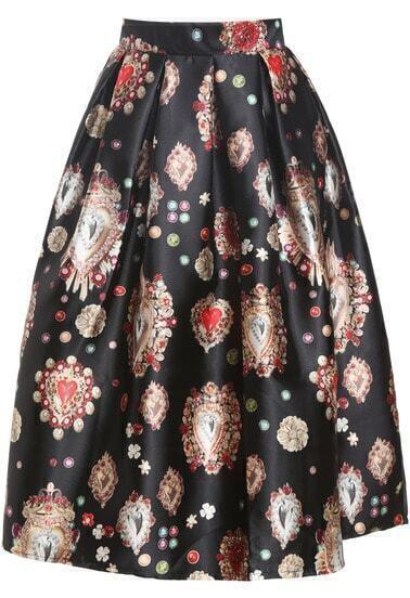 Black Gemstone Print Flare Skirt
