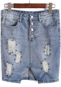 Blue Elastic Waist Ripped Bead Denim Skirt