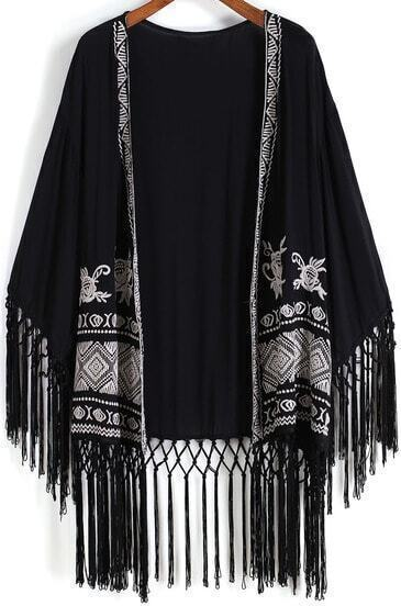 Black Embroidered Tassel Loose Kimono