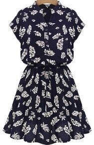 Navy Stand Collar Batwing Leaves Print Dress