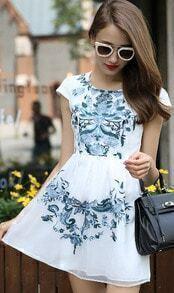 White Cap Sleeve Embroidered Slim Dress
