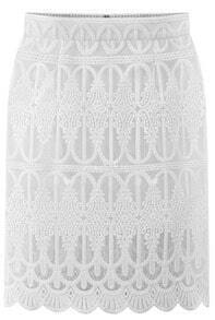 White Hollow Lace Bodycon Skirt