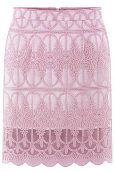Pink Hollow Lace Slim Skirt