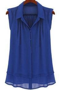 Blue Lapel Double Layer Chiffon Blouse