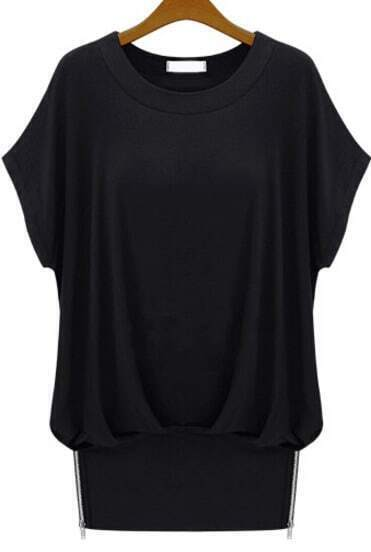 Black Batwing Sleeve Zipper Loose T-Shirt