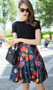 Black Short Sleeve Slim Top With Floral Skirt