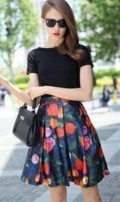 Black Short Sleeve Slim Top With Floral Skirt