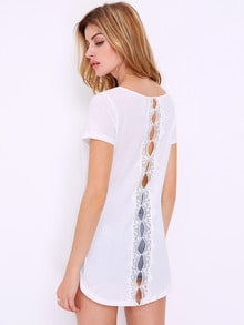 T-shirt High Low en dentelle -blanc