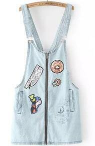 Blue Strap Cartoon Pattern Denim Pinafore Dress