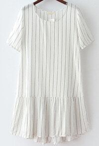 White Short Sleeve Vertical Stripe Loose Dress
