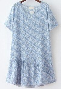 Blue Short Sleeve Floral Loose Dress