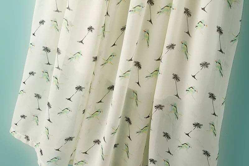 Robe Imprimé Oiseaux Manches Courtes -beige -French SheIn