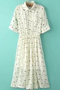 Beige Lapel Short Sleeve Birds Print Dress