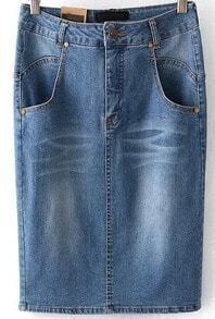 Blue Bleached Pockets Denim Skirt