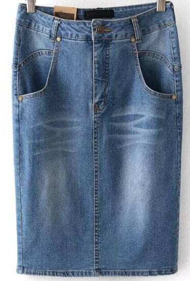 blue bleached pockets denim skirt shein sheinside