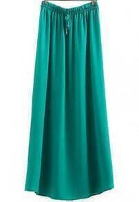 Green Drawstring Waist Pleated Split Skirt