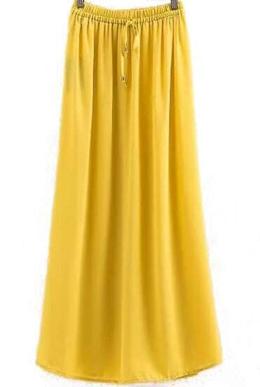 Yellow Drawstring Waist Pleated Split Skirt