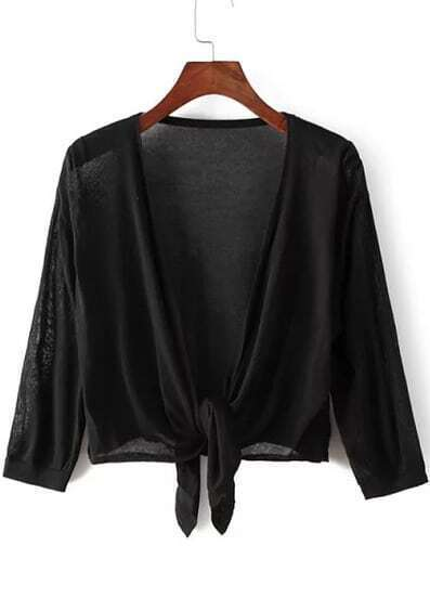 Black Knotted Crop Knit Cardigan
