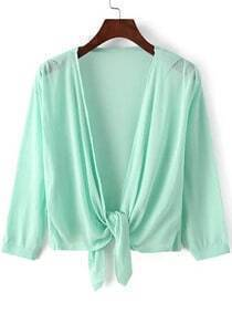 Green Knotted Crop Knit Cardigan