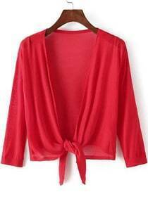 Red Knotted Crop Knit Cardigan