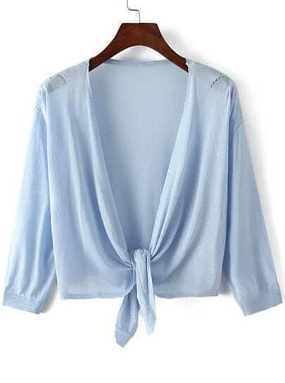 Blue Knotted Crop Knit Cardigan