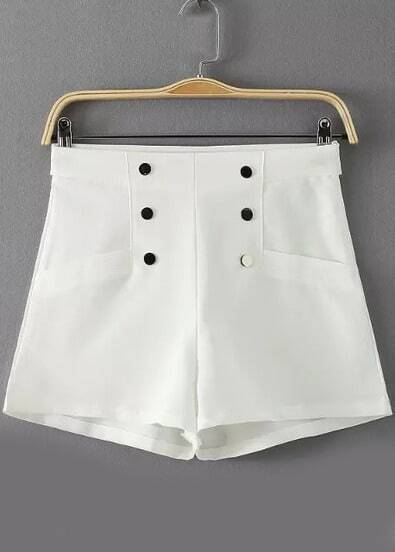 White High Waist Buttons Shorts pictures