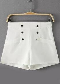 White High Waist Buttons Shorts