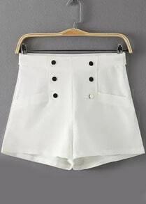 White High Waist Buttons Shorts