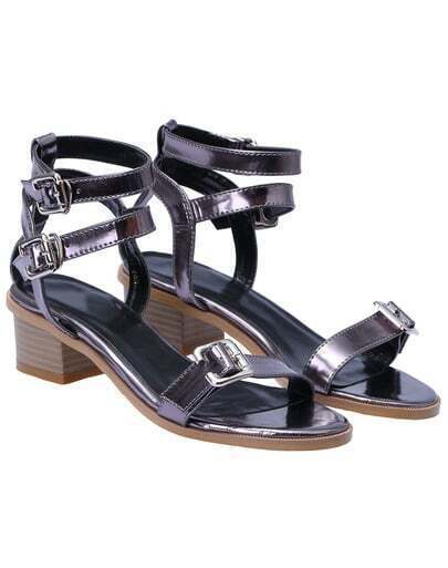 Grey Buckle Strap Mid Heeled Sandals