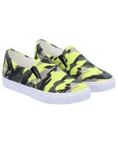 Green Round Toe Camouflage Flats