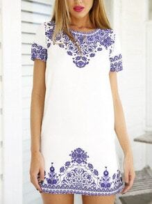 Short Sleeve Vintage Blue And White Print Pattern Dress