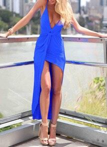 Deep Plunge Neck High Low Blue Dress