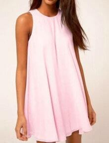 Round Neck Shift Pink Dress