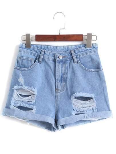 Ripped Cuffed Denim Pale Blue Shorts